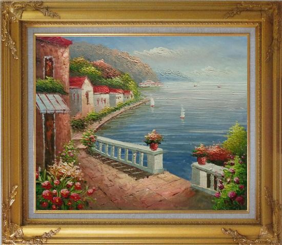 Framed Mediterranean Dream Village Oil Painting Naturalism Gold Wood Frame with Deco Corners 27 x 31 Inches
