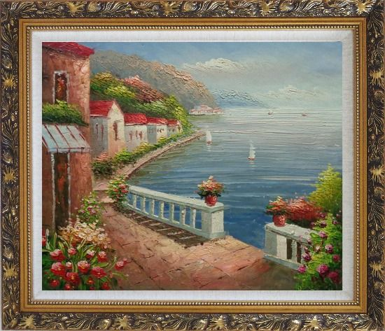 Framed Mediterranean Dream Village Oil Painting Naturalism Ornate Antique Dark Gold Wood Frame 26 x 30 Inches