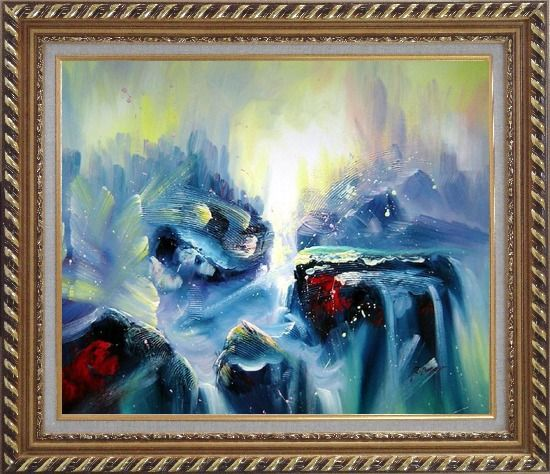 Framed Blue Volcano Magma Oil Painting Nonobjective Modern Exquisite Gold Wood Frame 26 x 30 Inches