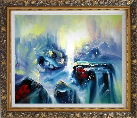 Framed Blue Volcano Magma Oil Painting Nonobjective Modern Ornate Antique Dark Gold Wood Frame 26 x 30 Inches