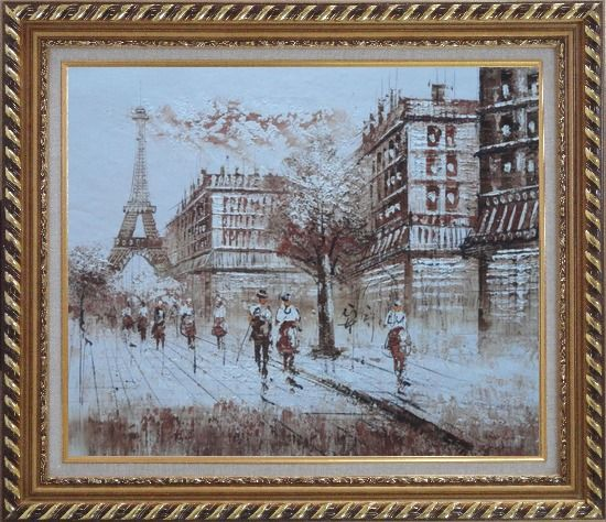 Framed Remembering Paris Oil Painting Cityscape France Impressionism Exquisite Gold Wood Frame 26 x 30 Inches