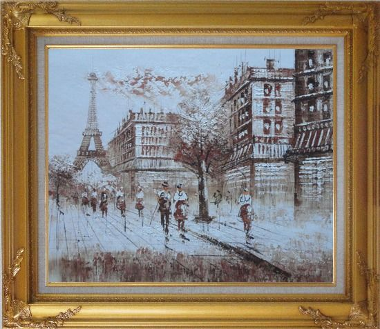 Framed Remembering Paris Oil Painting Cityscape France Impressionism Gold Wood Frame with Deco Corners 27 x 31 Inches