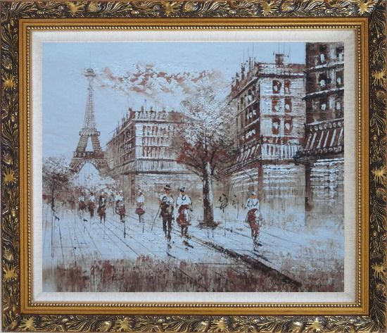 Framed Remembering Paris Oil Painting Cityscape France Impressionism Ornate Antique Dark Gold Wood Frame 26 x 30 Inches