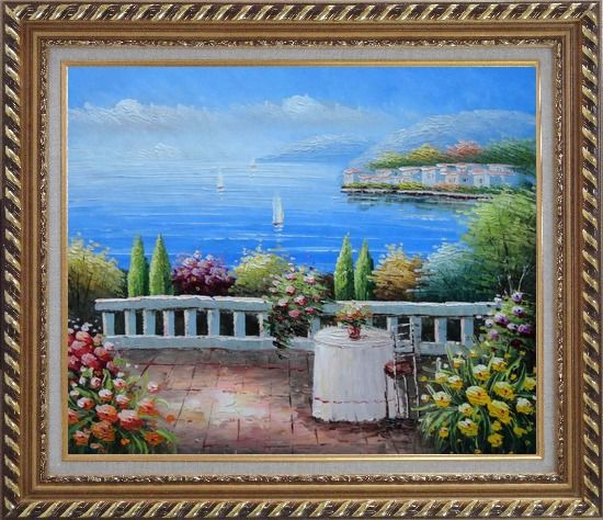 Framed Table and Chair in a Mediterranean Flower Garden Oil Painting Naturalism Exquisite Gold Wood Frame 26 x 30 Inches