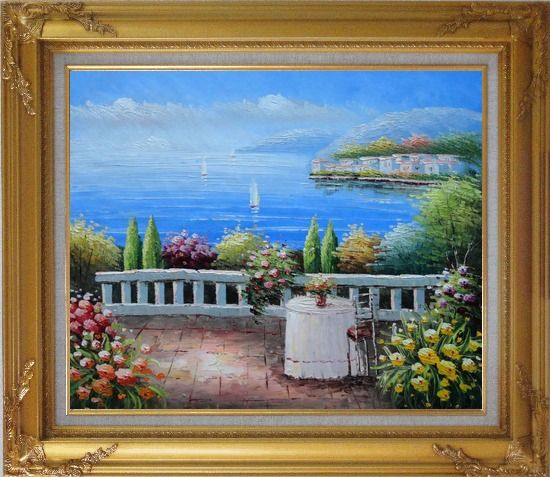 Framed Table and Chair in a Mediterranean Flower Garden Oil Painting Naturalism Gold Wood Frame with Deco Corners 27 x 31 Inches