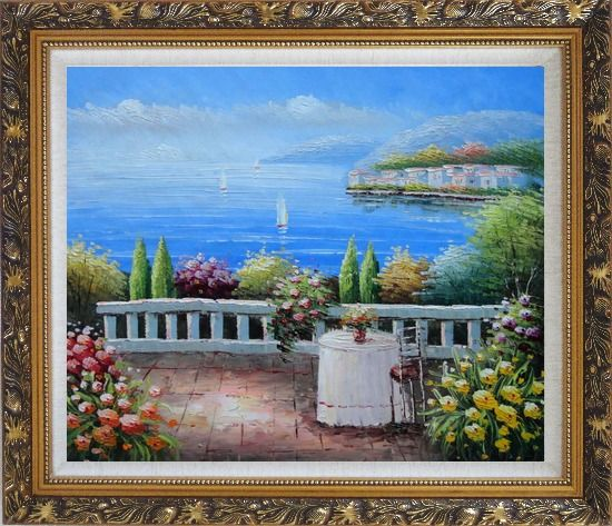 Framed Table and Chair in a Mediterranean Flower Garden Oil Painting Naturalism Ornate Antique Dark Gold Wood Frame 26 x 30 Inches