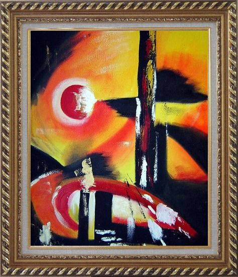 Framed Red Yellow and Black Form Oil Painting Nonobjective Modern Exquisite Gold Wood Frame 30 x 26 Inches