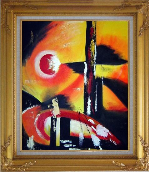 Framed Red Yellow and Black Form Oil Painting Nonobjective Modern Gold Wood Frame with Deco Corners 31 x 27 Inches