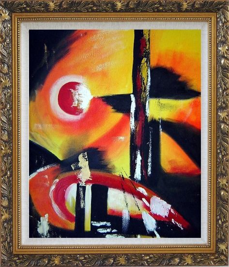 Framed Red Yellow and Black Form Oil Painting Nonobjective Modern Ornate Antique Dark Gold Wood Frame 30 x 26 Inches