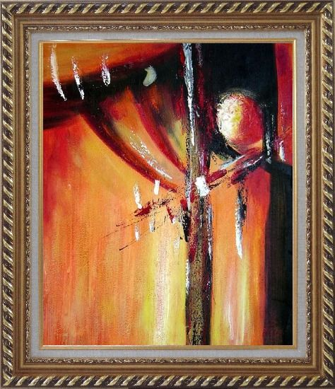 Framed Red and Black Abstract Form Oil Painting Nonobjective Modern Exquisite Gold Wood Frame 30 x 26 Inches