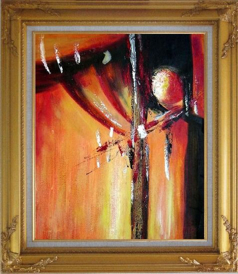 Framed Red and Black Abstract Form Oil Painting Nonobjective Modern Gold Wood Frame with Deco Corners 31 x 27 Inches