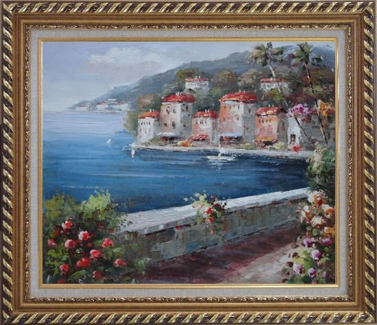 Framed Peaceful Scenic Mediterranean Walkway Oil Painting Naturalism Exquisite Gold Wood Frame 26 x 30 Inches