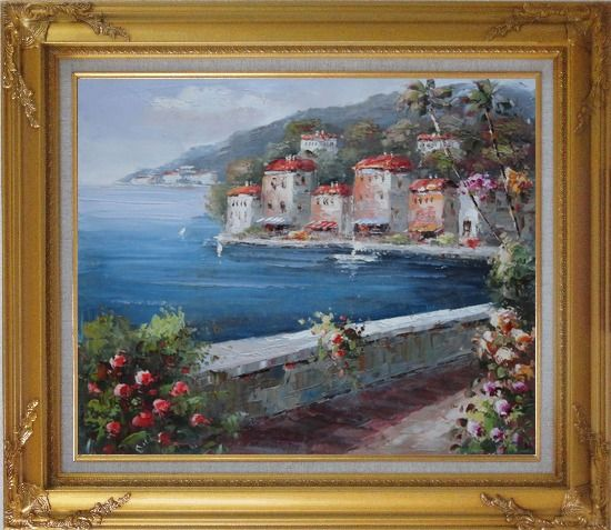 Framed Peaceful Scenic Mediterranean Walkway Oil Painting Naturalism Gold Wood Frame with Deco Corners 27 x 31 Inches