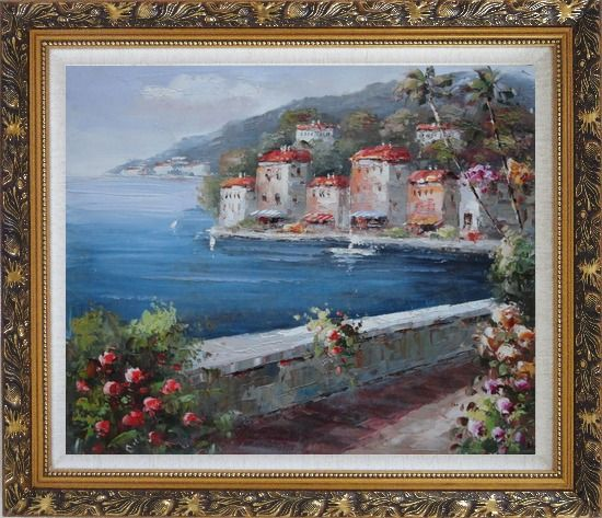 Framed Peaceful Scenic Mediterranean Walkway Oil Painting Naturalism Ornate Antique Dark Gold Wood Frame 26 x 30 Inches