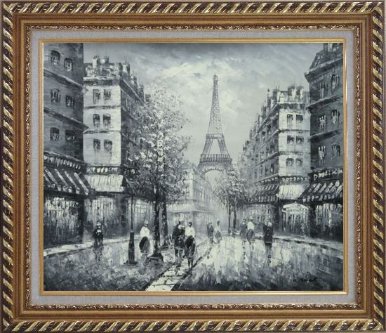 Framed Memory of Eiffel Tower in Paris Black And White Oil Painting Cityscape France Impressionism Exquisite Gold Wood Frame 26 x 30 Inches