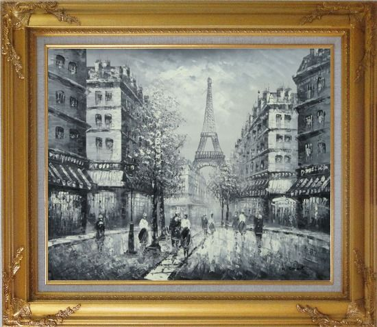 Framed Memory of Eiffel Tower in Paris Black And White Oil Painting Cityscape France Impressionism Gold Wood Frame with Deco Corners 27 x 31 Inches