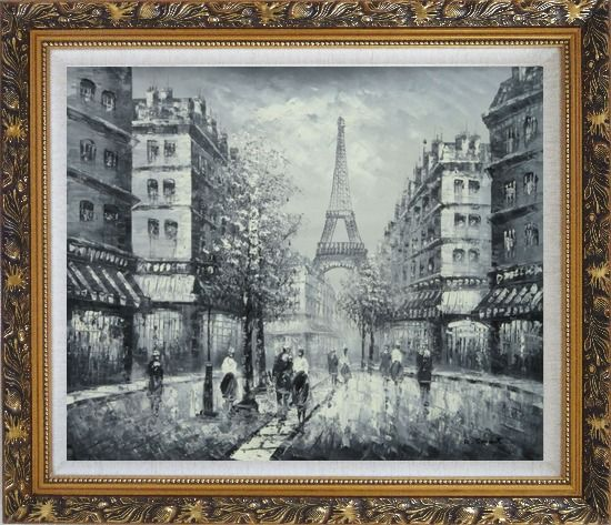 Framed Memory of Eiffel Tower in Paris Black And White Oil Painting Cityscape France Impressionism Ornate Antique Dark Gold Wood Frame 26 x 30 Inches