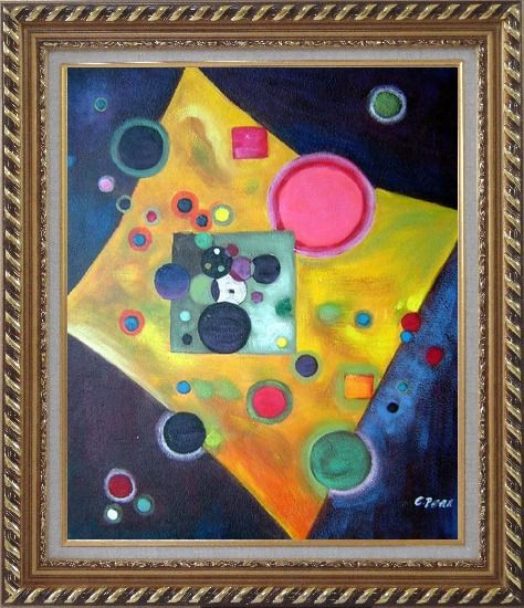 Framed Confetti, Accent in Pink Oil Painting Nonobjective Modern Exquisite Gold Wood Frame 30 x 26 Inches