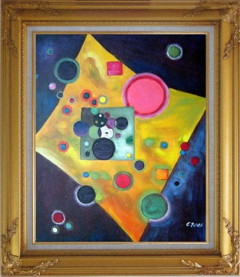 Framed Confetti, Accent in Pink Oil Painting Nonobjective Modern Gold Wood Frame with Deco Corners 31 x 27 Inches