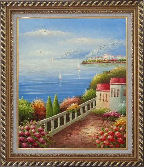 Framed Sailing Near Mediterranean Coast Oil Painting Naturalism Exquisite Gold Wood Frame 30 x 26 Inches