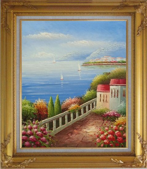 Framed Sailing Near Mediterranean Coast Oil Painting Naturalism Gold Wood Frame with Deco Corners 31 x 27 Inches