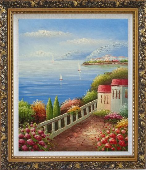 Framed Sailing Near Mediterranean Coast Oil Painting Naturalism Ornate Antique Dark Gold Wood Frame 30 x 26 Inches