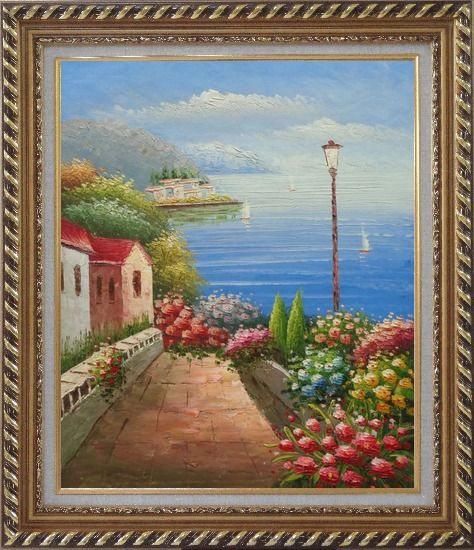 Framed Mediterranean Seaside Walk with Flowers Oil Painting Naturalism Exquisite Gold Wood Frame 30 x 26 Inches