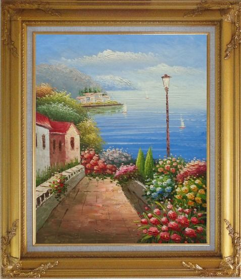 Framed Mediterranean Seaside Walk with Flowers Oil Painting Naturalism Gold Wood Frame with Deco Corners 31 x 27 Inches