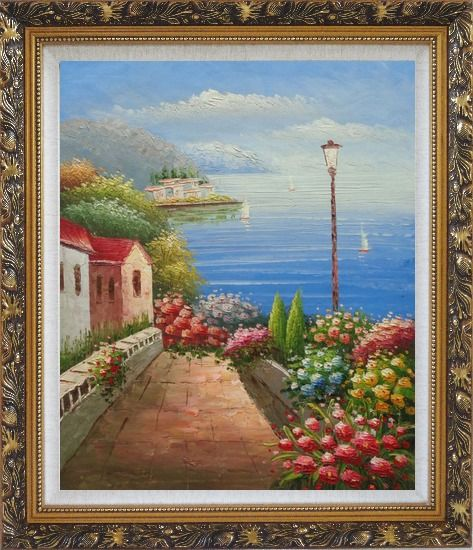 Framed Mediterranean Seaside Walk with Flowers Oil Painting Naturalism Ornate Antique Dark Gold Wood Frame 30 x 26 Inches