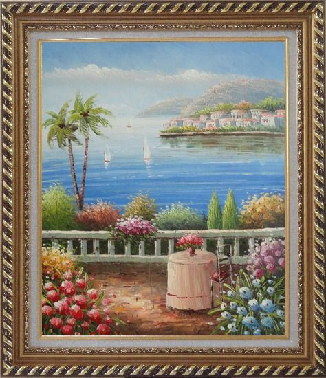 Framed Mediterranean Dream Oil Painting Naturalism Exquisite Gold Wood Frame 30 x 26 Inches