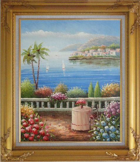 Framed Mediterranean Dream Oil Painting Naturalism Gold Wood Frame with Deco Corners 31 x 27 Inches