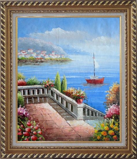 Framed Flower Balcony Oversee Mediterranean Sea Oil Painting Naturalism Exquisite Gold Wood Frame 30 x 26 Inches