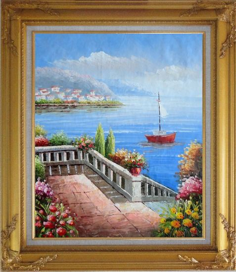 Framed Flower Balcony Oversee Mediterranean Sea Oil Painting Naturalism Gold Wood Frame with Deco Corners 31 x 27 Inches