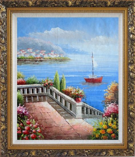 Framed Flower Balcony Oversee Mediterranean Sea Oil Painting Naturalism Ornate Antique Dark Gold Wood Frame 30 x 26 Inches