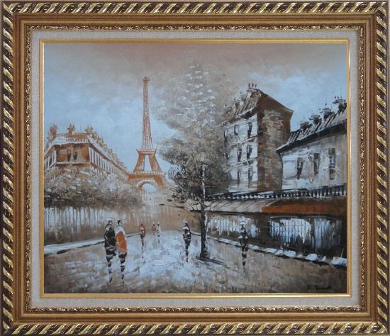 Framed Tour Eiffel, People and Street Oil Painting Cityscape France Impressionism Exquisite Gold Wood Frame 26 x 30 Inches