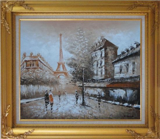 Framed Tour Eiffel, People and Street Oil Painting Cityscape France Impressionism Gold Wood Frame with Deco Corners 27 x 31 Inches