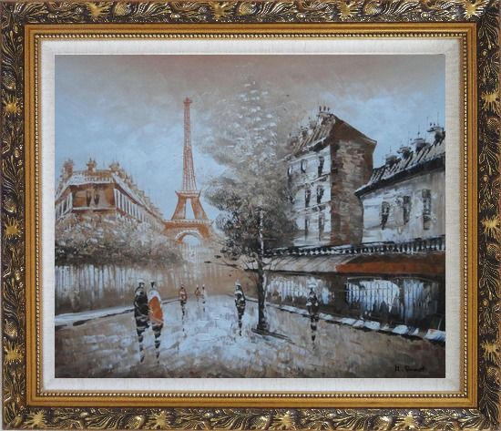 Framed Tour Eiffel, People and Street Oil Painting Cityscape France Impressionism Ornate Antique Dark Gold Wood Frame 26 x 30 Inches