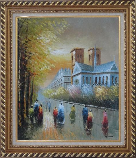Framed Relaxing Time near Notre Dame Oil Painting Cityscape France Impressionism Exquisite Gold Wood Frame 30 x 26 Inches
