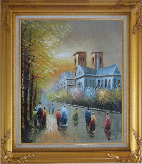Framed Relaxing Time near Notre Dame Oil Painting Cityscape France Impressionism Gold Wood Frame with Deco Corners 31 x 27 Inches