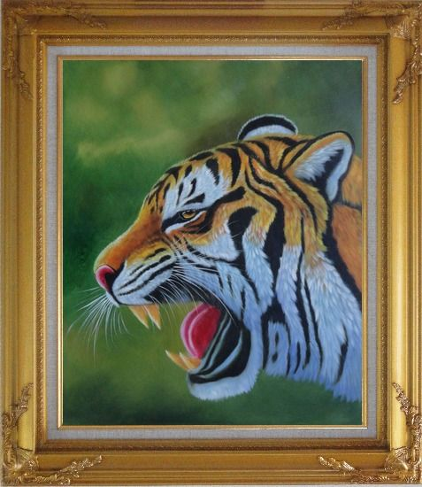 Framed A Fierce Tiger Head in Green Background Oil Painting Animal Naturalism Gold Wood Frame with Deco Corners 31 x 27 Inches