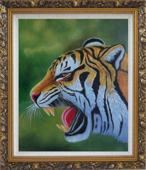 Framed A Fierce Tiger Head in Green Background Oil Painting Animal Naturalism Ornate Antique Dark Gold Wood Frame 30 x 26 Inches