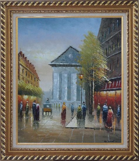 Framed Street Scene Rue Royale, Madeleine Oil Painting Cityscape France Impressionism Exquisite Gold Wood Frame 30 x 26 Inches