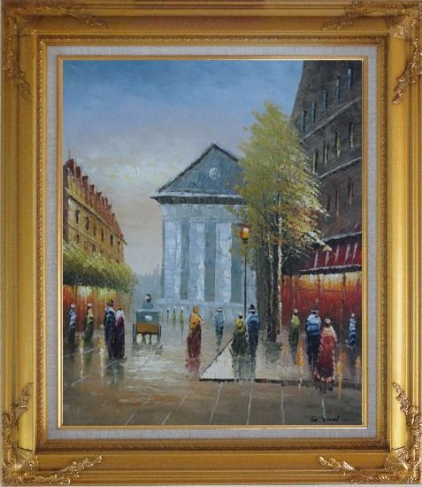Framed Street Scene Rue Royale, Madeleine Oil Painting Cityscape France Impressionism Gold Wood Frame with Deco Corners 31 x 27 Inches