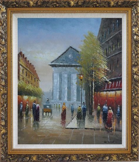 Framed Street Scene Rue Royale, Madeleine Oil Painting Cityscape France Impressionism Ornate Antique Dark Gold Wood Frame 30 x 26 Inches