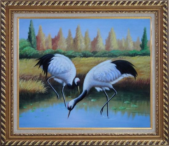 Framed Pair of Red-Crowned Cranes Catch Fishes Pond Oil Painting Animal Bird Naturalism Exquisite Gold Wood Frame 26 x 30 Inches