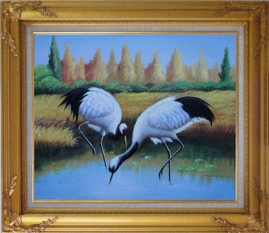Framed Pair of Red-Crowned Cranes Catch Fishes Pond Oil Painting Animal Bird Naturalism Gold Wood Frame with Deco Corners 27 x 31 Inches