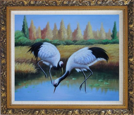 Framed Pair of Red-Crowned Cranes Catch Fishes Pond Oil Painting Animal Bird Naturalism Ornate Antique Dark Gold Wood Frame 26 x 30 Inches
