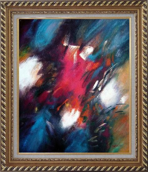 Framed Harmony of Blue Red and White Oil Painting Nonobjective Modern Exquisite Gold Wood Frame 30 x 26 Inches