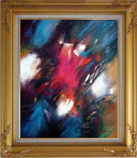 Framed Harmony of Blue Red and White Oil Painting Nonobjective Modern Gold Wood Frame with Deco Corners 31 x 27 Inches