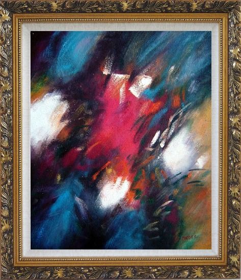 Framed Harmony of Blue Red and White Oil Painting Nonobjective Modern Ornate Antique Dark Gold Wood Frame 30 x 26 Inches
